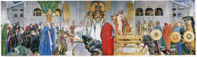 Midvinterblot by Carl Larsson. This painting was an inspiration for the author and figures into some of the stories.