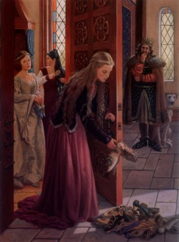 Here's the version I remember, from The Twelve Dancing Princesses by Ruth Sanderson