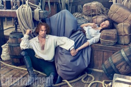 Outlander Caitriona Balfe and Sam Heughan photographed on the Outlander set in Cape Town, South Africa on March 8, 2017 by Ruven Afanador Balfe's Costume: Marnie Ormiston; Hair and Makeup: Anita Anderson; Heughan's Costume: Kirsty Allen; Hair and Makeup: Wendy Kemp Forbes; Set Dressers: Jason Broderick and Thomas Leppan; Production: Baker Kent Productions